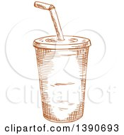 Clipart Of A Brown Sketched Fountain Soda Royalty Free Vector Illustration