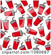 Clipart Of A Seamless Background Pattern Of Fountain Sodas Royalty Free Vector Illustration