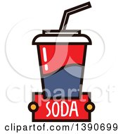 Clipart Of A Fountain Soda With Text Royalty Free Vector Illustration