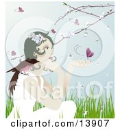 Pretty Gentle Woman With A Bird On Her Shoulder And A Butterfly On Her Hand Sitting Outdoors In Spring Time