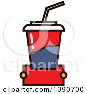 Clipart Of A Fountain Soda With Text Space Royalty Free Vector Illustration