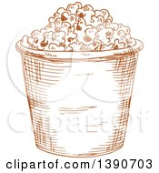 Clipart Of A Brown Sketched Bucket Of Popcorn Royalty Free Vector Illustration by Vector Tradition SM