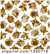 Seamless Background Pattern Of Owls