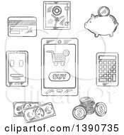 Clipart Of Black And White Finance And Retail Items Royalty Free Vector Illustration