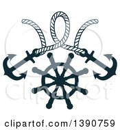 Clipart Of A Rope With Anchors Over A Helm Royalty Free Vector Illustration by Vector Tradition SM