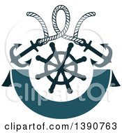 Clipart Of A Rope With Anchors Over A Helm And Banner Royalty Free Vector Illustration by Vector Tradition SM