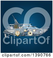Clipart Of A Yacht Made Of Mechanical Parts On Blue Royalty Free Vector Illustration