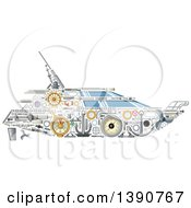 Clipart Of A Yacht Made Of Mechanical Parts Royalty Free Vector Illustration