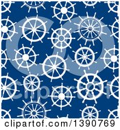 Clipart Of A Seamless Background Pattern Of White Helms On Blue Royalty Free Vector Illustration by Vector Tradition SM