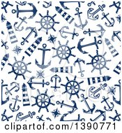 Clipart Of A Seamless Background Pattern Of Anchors Lighthouses Compasses And Helms Royalty Free Vector Illustration by Vector Tradition SM