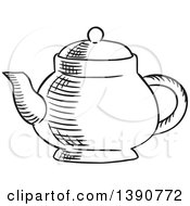 Poster, Art Print Of Black And White Sketched Tea Pot
