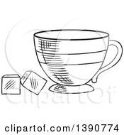 Clipart Of A Black And White Sketched Tea Cup With Sugar Cubes Royalty Free Vector Illustration