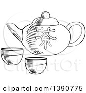 Poster, Art Print Of Black And White Sketched Asian Tea Pot And Cups