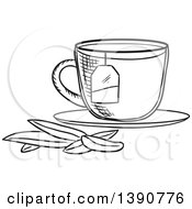 Poster, Art Print Of Black And White Sketched Tea Cup With Leaves