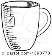 Poster, Art Print Of Black And White Sketched Tea Cup