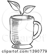 Poster, Art Print Of Black And White Sketched Tea Cup And Leaves