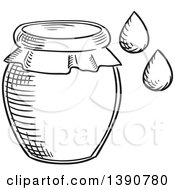 Clipart Of A Black And White Sketched Honey Jar And Drops Royalty Free Vector Illustration by Vector Tradition SM