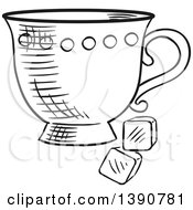 Poster, Art Print Of Black And White Sketched Tea Cup With Sugar Cubes