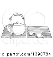 Clipart Of A Black And White Sketched Tea Pot And Cups Royalty Free Vector Illustration