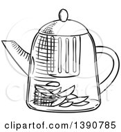 Clipart Of A Black And White Sketched Tea Kettle Royalty Free Vector Illustration by Vector Tradition SM