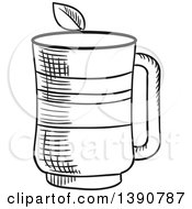 Clipart Of A Black And White Sketched Tea Cup Royalty Free Vector Illustration