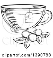 Clipart Of A Black And White Sketched Tea Cup With Berries And Leaves Royalty Free Vector Illustration