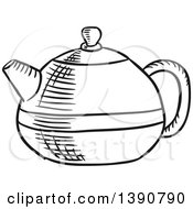 Clipart Of A Black And White Sketched Tea Pot Royalty Free Vector Illustration