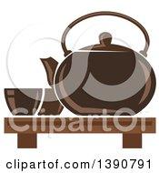 Poster, Art Print Of Brown Asian Tea Pot With Cups