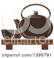 Clipart Of A Brown Asian Tea Pot With Cups Royalty Free Vector Illustration