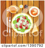 Poster, Art Print Of Vegetarian Lunch On A Wooden Table With Fresh Vegetable Salad With Tomatoes Cucumbers And Onion Grated Carrot With Whipped Cream And Honey Piece Of Bread With Cup Of Tea Salt And Pepper Shakers