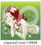 Pretty Organic Red Haired Woman Lying In The Grass Clipart Illustration by AtStockIllustration