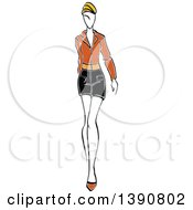 Sketched Blond Faceless Woman Modeling A Mini Skirt