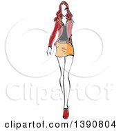 Sketched Brunette Faceless Woman Modeling A Mini Skirt