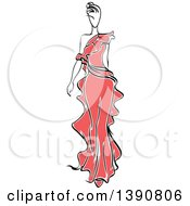 Clipart Of A Sketched Faceless Woman Modeling A Red Dress Royalty Free Vector Illustration