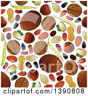 Clipart Of A Seamless Background Pattern Of Fruit Nuts And Seeds Royalty Free Vector Illustration by Vector Tradition SM