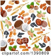 Clipart Of A Seamless Background Pattern Of Fruits And Nuts Royalty Free Vector Illustration by Seamartini Graphics