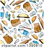 Clipart Of A Seamless Background Pattern Of Baking Foods Royalty Free Vector Illustration
