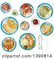 Clipart Of Sketched Irish Cuisine Dishes Served With Vegetable Lamb Stew And Potato Pancakes Boxty With Sauce Potato Stew Coddle With Sausages And Mashed Potato With Fish Raisin Bread And Meringue Dessert With Strawberries Green Beer And Coffee Cup