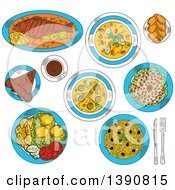 Clipart Of Sketched Romanian Cuisine With Whole Fish And Grilled Corn Mamaliga Meatball And Vegetarian Bean Soup Fried Potatoes With Fresh Vegetables And Lemon Pickled Cabbage Salad And Sweet Bread With Cheese Chocolate Cake Amandine And Coffee Ro by Vector Tradition SM