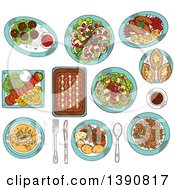 Clipart Of Sketched Finnish Cuisine Dishes Of Smoked Salmon Rice And Fish Rye Pies Sausages And Meatballs With Berry Jam Cabbage And Reindeer Stews Salads With Apples Cheese And Cloudberries Soup And Coffee Royalty Free Vector Illustration