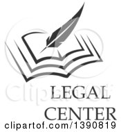 Clipart Of A Feather Quill Writing In A Book With Legal Center Text Royalty Free Vector Illustration