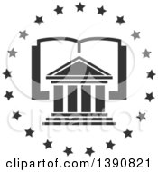 Clipart Of A Court House Over An Open Book In A Circle Of Stars Royalty Free Vector Illustration by Vector Tradition SM