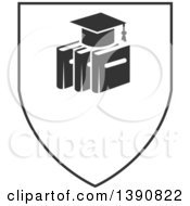 Clipart Of A Dark Gray Graduation Cap Over Books In A Shield Royalty Free Vector Illustration