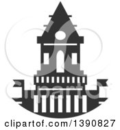 Clipart Of A Dark Gray Court House Royalty Free Vector Illustration