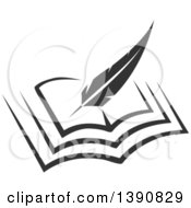 Clipart Of A Feather Quill Writing In A Book Royalty Free Vector Illustration
