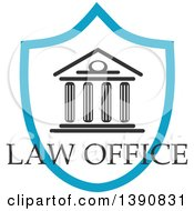 Clipart Of A Court House In A Shield With Law Office Text Royalty Free Vector Illustration