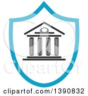 Clipart Of A Court House In A Shield Royalty Free Vector Illustration