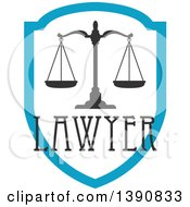 Clipart Of Scales Of Justice With Lawyer Text Over A Shield Royalty Free Vector Illustration