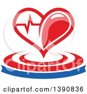 Clipart Of A Heart With A Graph Over A Banner And Circles Royalty Free Vector Illustration by Seamartini Graphics