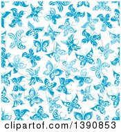 Seamless Background Pattern Of Blue Butterflies